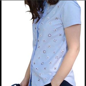 J. crew Collection Beaded Button-Down Top